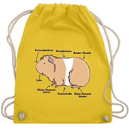 Shirtracer Sonstige Tiere - Meerschwein Anatomie - Unisize - Gelb - lustige sachen - WM110 - Turnbeutel und Stoffbeutel aus Baumwolle