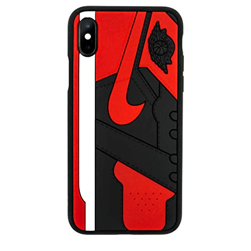 iPhone Shoe Case, Bred 1s Official 3D Print Textured Shock Absorbing Protective Sneaker Fashion Case (iPhone XR)