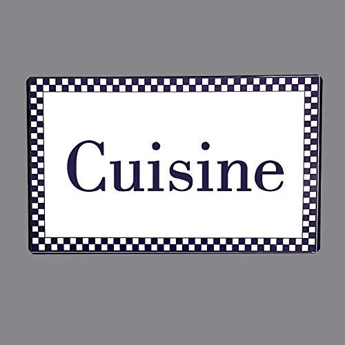 chemin_de_campagne Plaque de Porte Cuisine en Fer Blanc Entourage Vichy Bleu Rectangulaire 15 cm