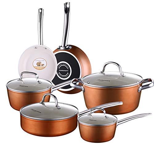COOKSMARK Pots and Pans Set, Nonstick Ceramic Cookware Set Copper Finish - Dishwasher Safe Oven Safe - 10 Piece