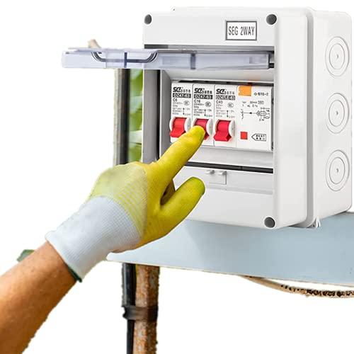 Leitungsschutzschalter Sicherungsautomat 2-Wege-lecksicherer Leistungsschalter, Sicherungskasten Aufputz IP65 Verteiler 40A 30mA RCD 2MCB 6A+16A Garagen Caravan Verbrauchereinheit