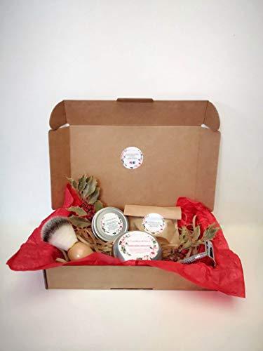 KIT DE CUIDADO PARA HOMBRES - Champú sólido, jabón de afeitado, jabón exfoliante, brocha y cuchilla - 100% ecológico y natural