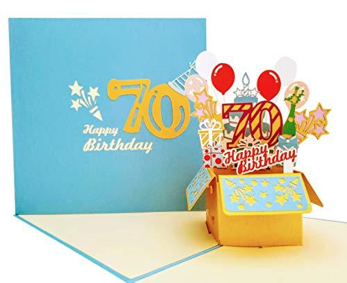iGifts And Cards Happy 70th Blue Birthday Party Box 3D Pop Up Grußkarte - siebzig, Awesome, Luftballons, einzigartig, Feier, Feliz Cumpleaños, Fun