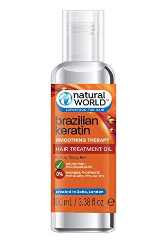 Natural World - Brazilian Keratin Smoothing Therapy, Olio per capelli secchi e crespi alla cheratina, 100 ml