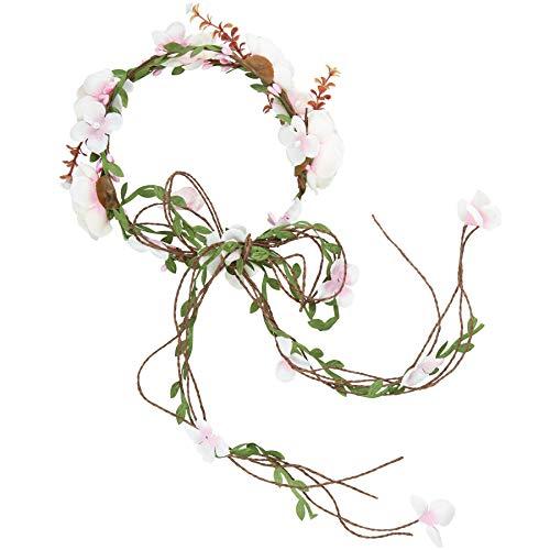 dressforfun 302792 Blumen Stirnband Haarband Blumenkranz, größenverstellbar, für Hochzeit oder Trachten Party, lila weiß