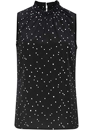 bonprix Attraktive Bluse mit gerüschtem Stehkragen schwarz gepunktet 50 für Damen