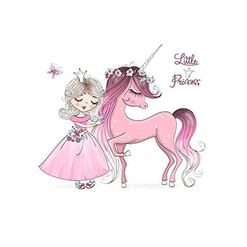 Parche de transferencia térmica,iron on patches,Ropa personalizada diy, niña serie Unicornio linda niña