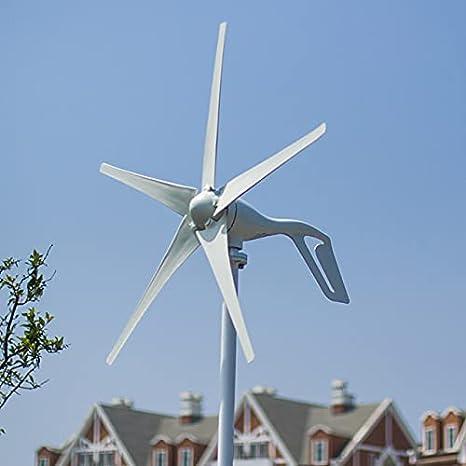 Aerogeneradores Generador de turbina eólica de 400W de energía gratis de 400W 24V para uso de residencia Energía solar y eólica (Color : 5 Blades Type, Specification : Free Controller)