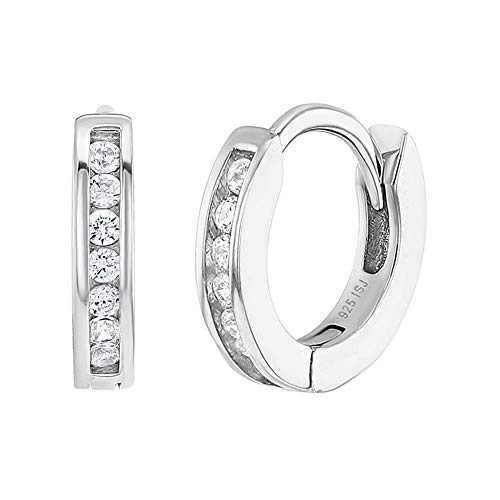 925 Sterling Silver Young Ladies 10mm Clear Cubic Zirconia Hoop Earrings for Toddlers and Little Girls Best Girl's Earrings for All Occasions - Elegant and All Time Favorite