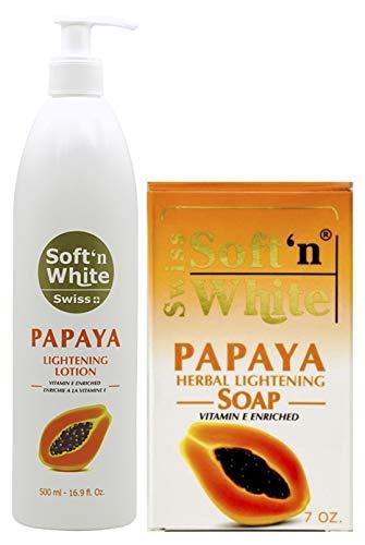 Swiss Soft N White Papaya Herbal Lightening Soap 7 Oz + Swiss Papaya Lightening Lotion Vitamin E Enriched 500 ml