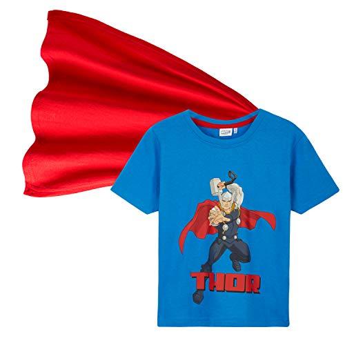 Marvel Camiseta Niño, Ropa Niño 100% Algodon, Camisetas Niño con Capa de Superheroes, Merchandising Oficial Regalos para Niños y Adolescentes 4-14 Años (Azul Claro, 5-6 años)