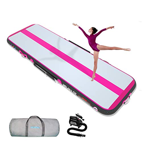 WelandFun Air Mat Tumble Track 10ft/13ft/16ft/20ft Inflatable Gymnastics Tumbling Mat 4/6/8 inchs Thickness Mats for Home Use/Gym/Yoga/Training/Cheerleading/Outdoor/Beach/Park wih Electric Air Pump