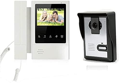 Video 4.3'Sistema telefónico de videoportero para el hogar Panel de Llamada en Color Soporte Desbloqueo Videoportero con Cable Timbre de Puerta de Gran Angular Kits de cámara Doorb