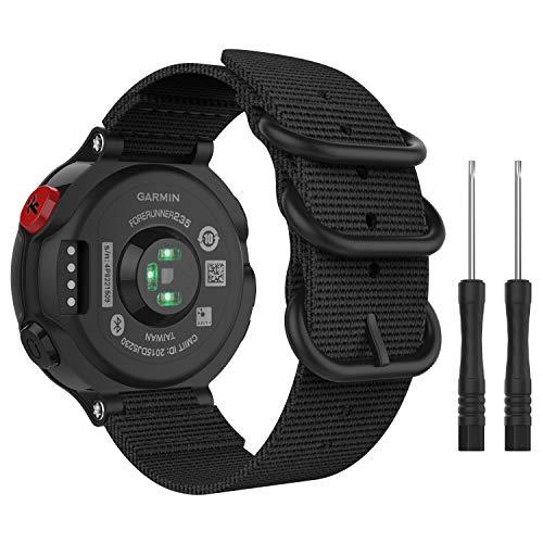 MoKo Correa Reloj Compatible con Forerunner 235/235 Lite/220/230/620/630/735XT/Approach S20/S6/S5, Pulsera de Reemplazo Ajustable de Nylón - Negro