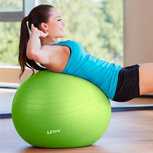 LETWY Palla Fitness | 65 cm, Verde | Nuova Versione 2020 con Poster Esercizi-Ginnastica, Fitball Fit Balls, Gymball Pilates, Yoga, Attrezzi Palestra Casa