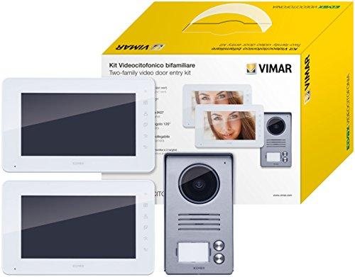Vimar K40911 Kit videoportero contenido: 2 videoporteros con teclado capacitivo LCD 7 in, placa de entrada audio vídeo de 2 pulsadores, 2 alimentadores con clavijas intercambiables, bianco grigio