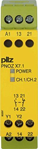 Pilz Not-Aus-Schaltgerät PNOZ X7.1#774051 24VAC/DC 1n/o 1n/c PNOZ X Gerät zur Überwachung von sicherheitsgerichteten Stromkreisen 4046548012378