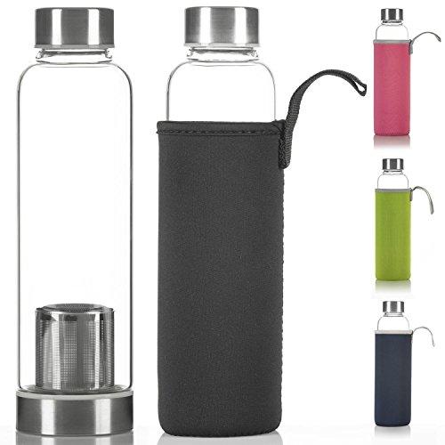 Dimono Deluxe Trinkflasche aus Glas 600ml - Sport Glasflasche Wasser-Flasche; bruchsicher mit Edelstahl Filter-Einsatz & Nylon Thermo-Hülle (Schwarz mit Filter)