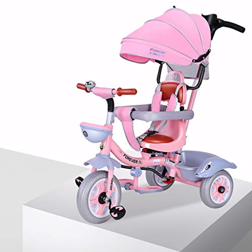SONG Standardkinderwagen 1-3-6 Jähriger Kinderwagen Kinderdreirad Fahrrad Geh Raus Geburtstagsgeschenk Indoor-und Outdoor-Kombination Von Kindern (Color : Pink)