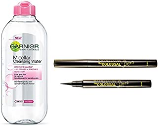 Garnier Skin Naturals, Micellar Cleansing Water, 125ml And Maybelline New York The Colossal Liner, 1.2ml (Black)
