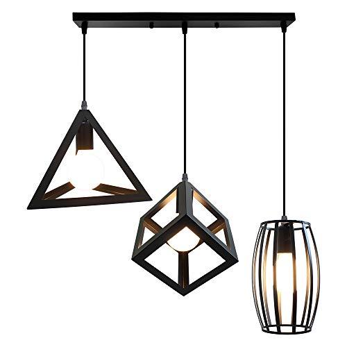 STOEX Creativa Lámpara de Techo Colgante Retro Industrial Un Conjunto de 3 Colgantes Geométricos Metal Luz de Araña Vintage para Sala de estar Cocina Comedor Pasillo, Negro