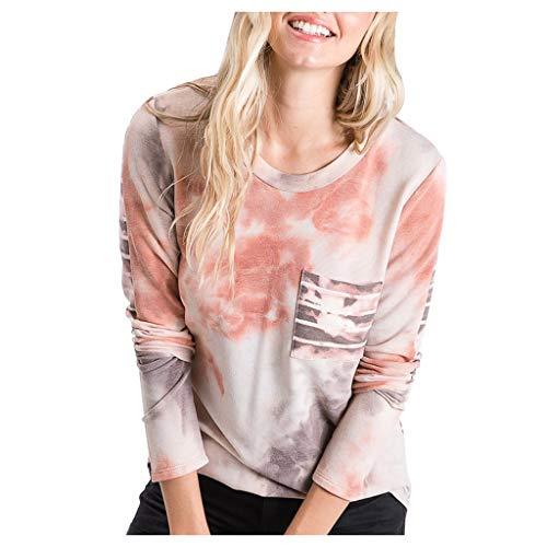 EUCoo Modischer Damen-Pullover, langärmelig, Batikdesign, Rundhalsausschnitt, leger, eleganter Pullover Gr. Small, rot