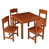 KidKraft Wooden Farmhouse Table & 4 Chairs Set, Children's Furniture for Arts & Activity – Pecan, 23.6