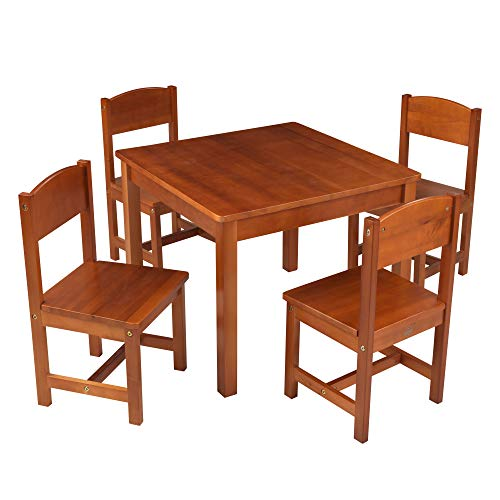 KidKraft Wooden Farmhouse Table & 4 Chairs Set, Children's Furniture for Arts & Activity – Pecan, 23.6' x 23.6' x 19, 21451