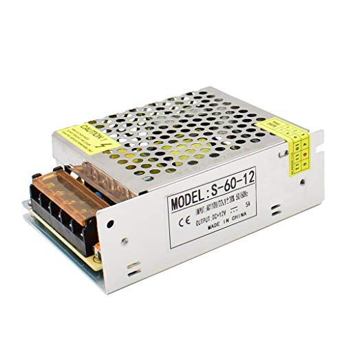 Baiyouli Fuente de Alimentación Conmutada AC 110/220V a DC 12V 5A 60W Transformador Convertidor para Luces de LED Cámara de Vigilancia