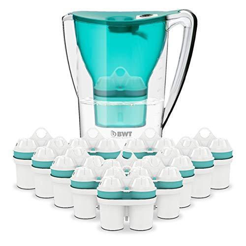 BWT Wasserfilter PENGUIN 2.7 l türkis mit 12 Filterkartuschen Zinc + Magnesium Mineralized Water | Immunsystem schützen mit Zink | Jahres-Vorrat an Kartuschen