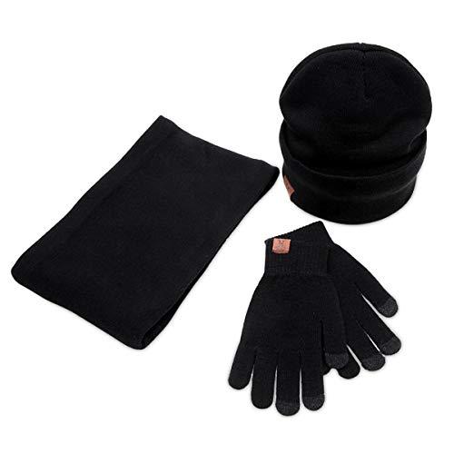 LumiSyne 3 En 1 Gorro Beanie De Punto Bufanda De Tubo y Guantes Invierno Hombre Mujer Guantes De Pantalla Táctil Sombreros De Suave Bufanda Infinita Calentador De Cuello
