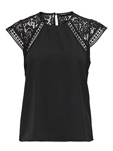 ONLY Damen ONLFELICIA Capsleeve TOP WVN Bluse, Black, L