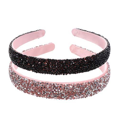 SOLUSTRE 2 Piezas de Diadema Acolchada con Diamantes de Imitación Diadema con Cuentas de Cristal Diadema con Brillo Aros para El Pelo de Boda Accesorios para El Cabello para Mujeres (