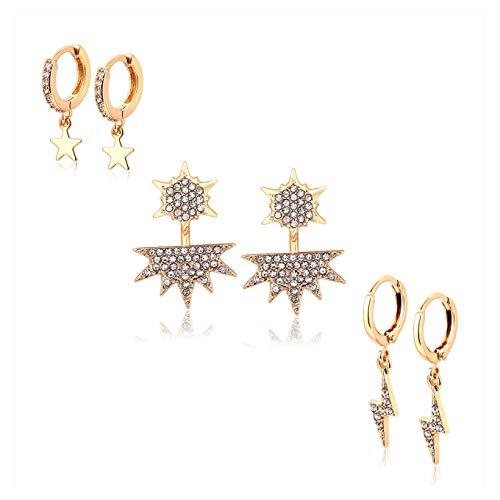 BSJELL Small Dangle Hoop Star Earrings for Women Double Stars Ear Jacket Stud Earrings CZ Lightning Bolt Huggies Hoops Earrings Crystal Wedding Jewelry Set 3 Pairs (Gold)
