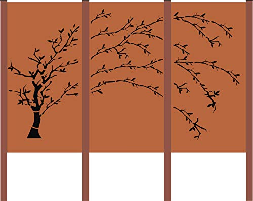 Design Gartenzaun Sichtschutz 3 - teiliger Baum bestehend aus 3 Rostelemente und 4 Pfosten SWC017 (Cortenstahl)