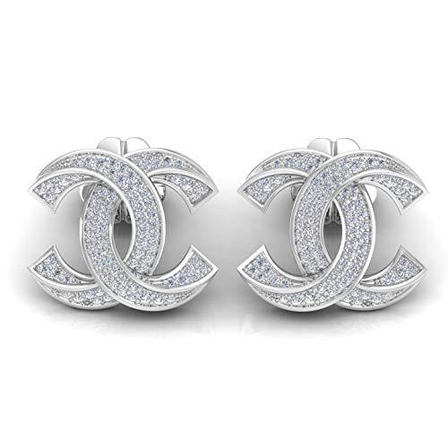 Spectrum Jewels Naturali 0.50 Ct. Doppi C Orecchini Vite Prigioniera Di Disegno Si Chiarezza Colore Hi Diamante Stesa Oro Bianco 18K Solido Per Unisex
