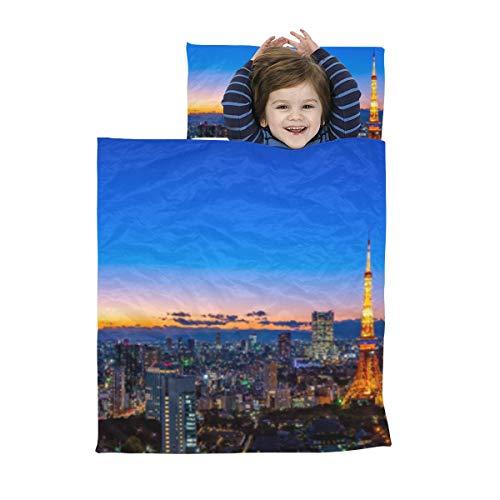 Preschool Nap Mat für Mädchen Schöne Zeichen Gebäude Tokyo Tower Nap Mat Reise Travel Soft Microfiber Lightweight Nap Schlafsäcke für Kinder Perfekt für Vorschule, Kindertagesstätte und Übernachtunge