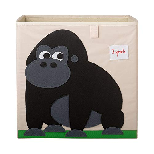 3 Sprouts Kids Childrens Nursery Foldable Fabric Organizing Storage Cube Box Toy Bin Bundle with Friendly Gorilla and Kangaroo (2 Pack)