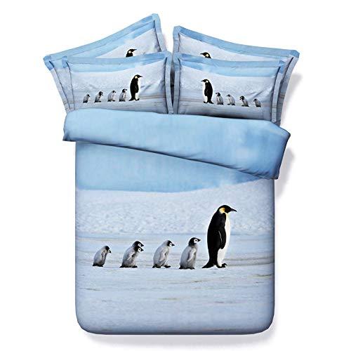 KTUCN Lovely Penguin Print Bedding Sets, Gift for Kids Single Bed Twin Full Size 3D Duvet Covers Super King Sheets Linen, Eu, Double 4Pcs