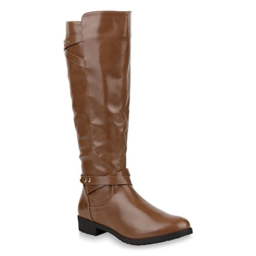 Damen Reiterstiefel Lack Leder-Optik Stiefel Nieten Boots Schuhe 153362 Khaki 36 Flandell