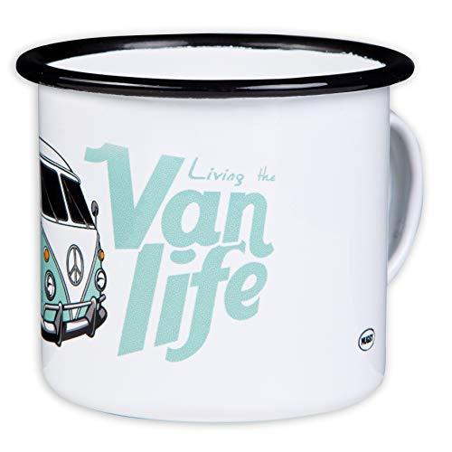 Vanlife - Hochwertige Emaille Tasse mit Bulli Design, leicht und bruchsicher, für Camping, Vanlifer und Outdoor - von MUGSY.de