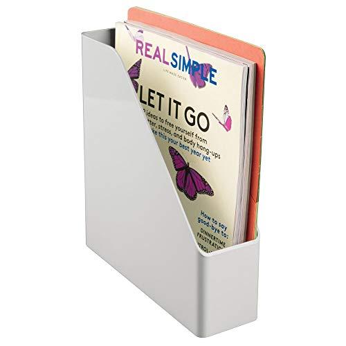 mDesign praktischer Stehsammler aus Kunststoff - hilfreiches Ordnungssystem für Hefte, Mappen und Notizbücher - cleverer Zeitschriftenhalter für Büro und Schreibtisch - hellgrau