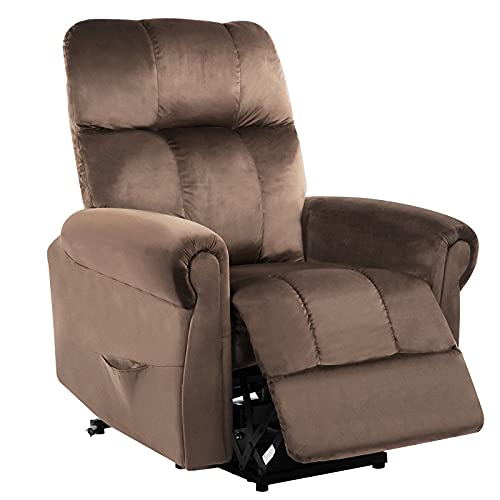 LANGTAOSHA Power Lift Recliner Chair for Elderly, Heavy Duty And Safety Motion Reclining Mechanism Sofa Living Room, Electric Riser Leather Chair with Remote Control, Brown