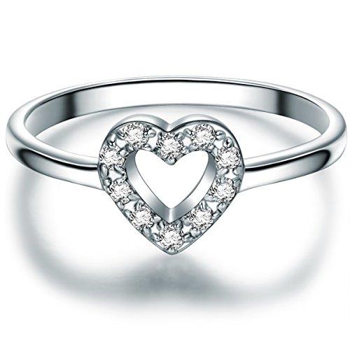 Tresor 1934 Damen-Ring Herz Sterling Silber Zirkonia weiß im Brillantschliff - Herzring Verlobungsring Silber Herzform Verlobungsschmuck