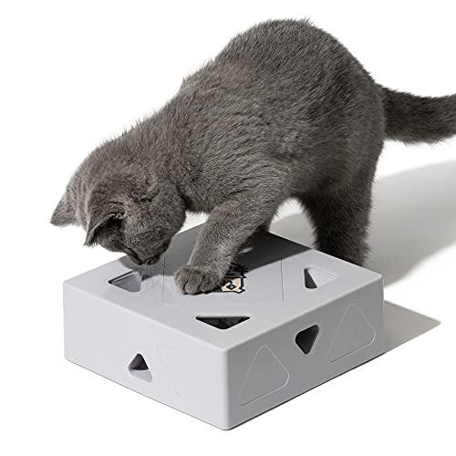 MewooFun インタラクティブな猫のおもちゃ いないいないばあプレイ電子 360°ランダムポップアウトフェザー マウステールティーザー 自動シャットオフ 低ノイズ インテリジェント誘導スイッチ 猫の猫の子猫のために