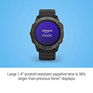 Garmin Fenix 6X Sapphire, Premium Multisport GPS Watch, features Mapping, Music, Grade-Adjusted Pace Guidance and Pulse Ox Sensors, Dark Gray with Black Band