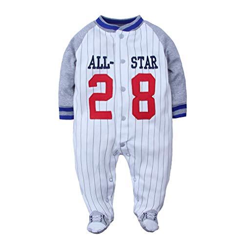Yying Neugeborenes Füßiges Baby Spielanzug Frühlings Herbst All Star Baseball Karikatur Säuglingskleidungs Overall Baumwollbaby Nachtwäsche