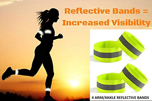 LifeKrafts High Visible Adjustable Reflective Arm Bands (2 Bands) | Ankle Bands - Straps Perfect for Runners, Walkers, Cyclists and as Bike Pant Leg Straps