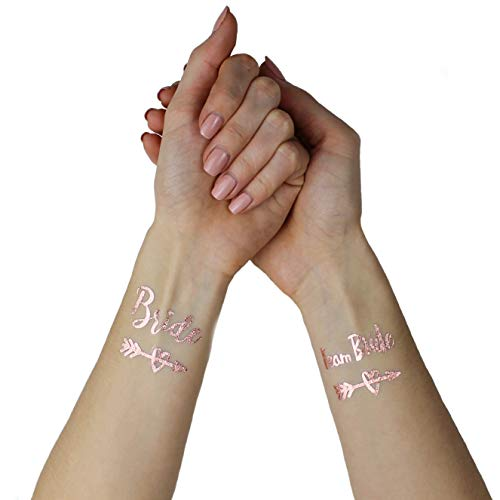 Victoris Team Bride Tattoo Junggesellinnenabschied JGA Bridesmaid Henna Gold Accessoire (Rosé Gold)