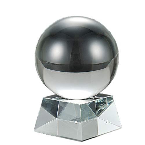 MINGZE Transparente Bola De Cristal con Soporte, 80mm Bola para Arte Fotografía, Bola De Vidrio K9 para Meditar Y Curación, Feng Shui, Decoraciones, Adivinación, Boda, Hogar, Oficina